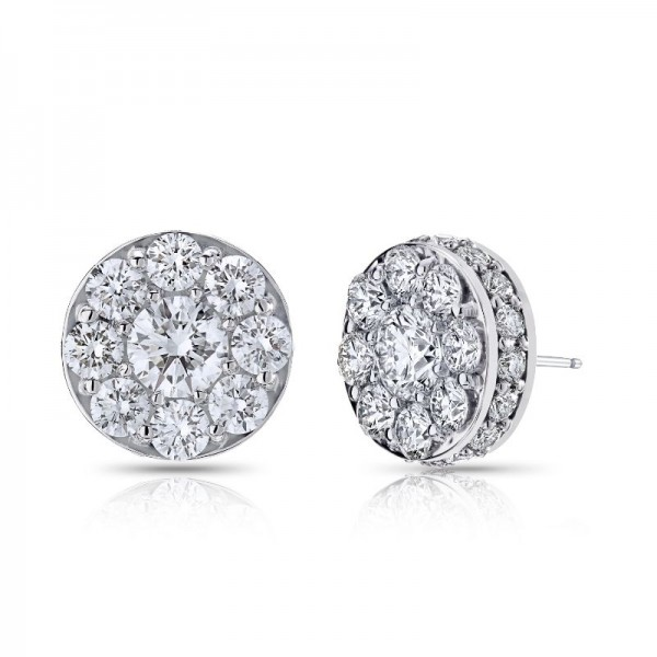 18KW 1.48ctw Diamond Illusion Earrings