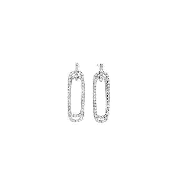 14KW Rectangle Diamond Drop Earrings