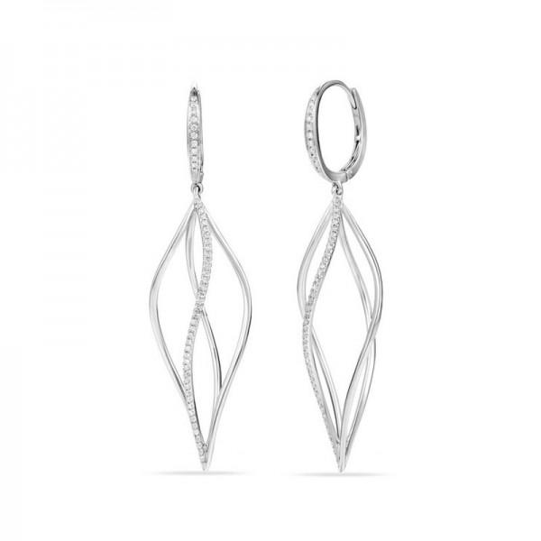 Luvente Diamond Twisted Hoop Dangle Earrings