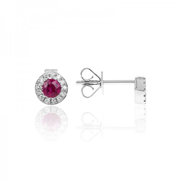 Luvente Ruby and Diamond Earrings