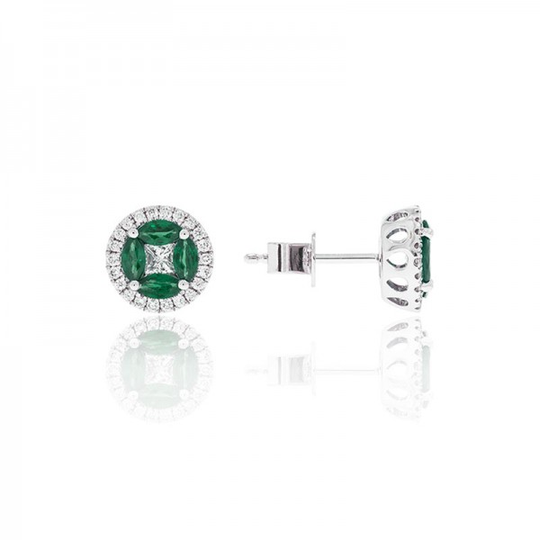 Luvente Emerald and Diamond Earrings
