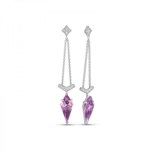 Luvente Amethyst and Diamond Dangle Earrings