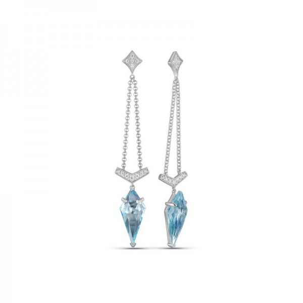 Luvente Blue Topaz and Diamond Earrings