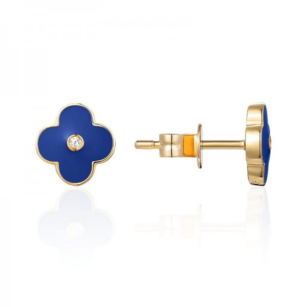 Luvente Navy Enamel Flower Earrings
