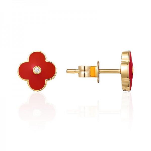 Luvente Red Enamel Flower Earrings