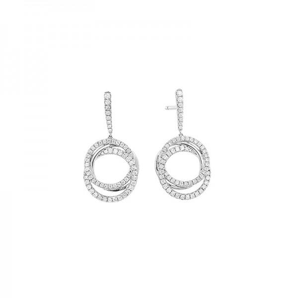 14KW Circle Diamond Drop Earrings