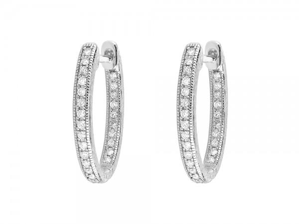 JudeFrances 18KW Delicate Small Oval Hoop Earrings