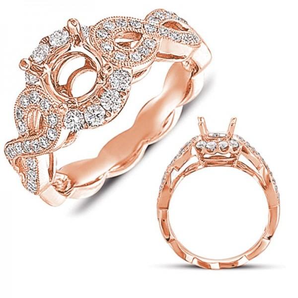 14k Rose Gold Pave Engagement Ring Semi Mounting