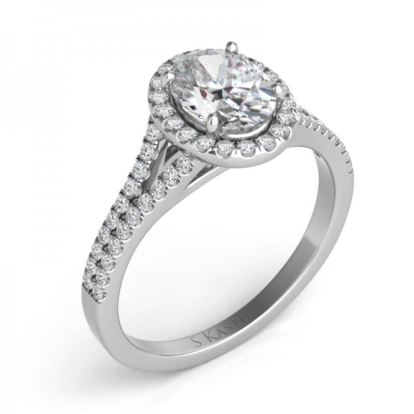 14K White Gold Gold Oval Engagement Ring Semi Mounting