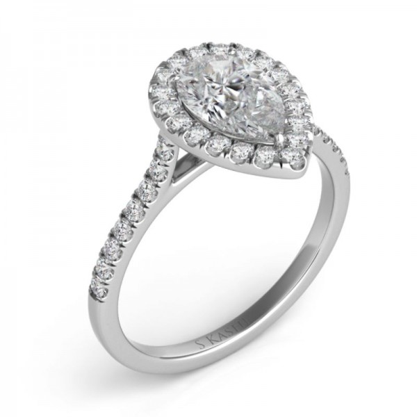 14K White Gold Gold Pear Shaped Halo Engagement Ring Semi Mounting