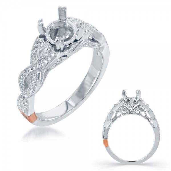 14K White Gold Gold Engagement Ring Semi Mounting