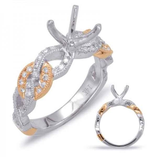 14k White & Rose Gold Engagement Ring Semi Mounting
