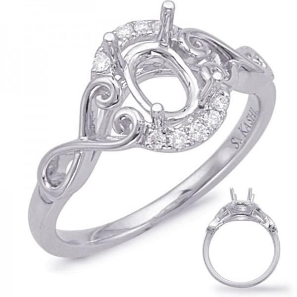 14K White Gold Gold Halo Engagement Ring Semi Mounting