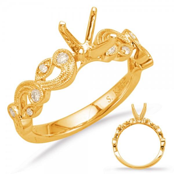 14K Yellow Gold Gold Engagement Ring Semi Mounting
