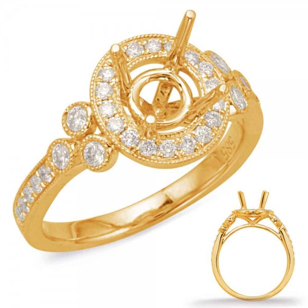 14K Yellow Gold Gold Halo Engagement Ring Semi Mounting