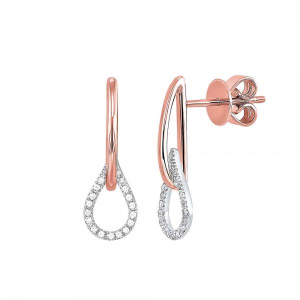Lady's 14K Two Tone Diamond Earrings