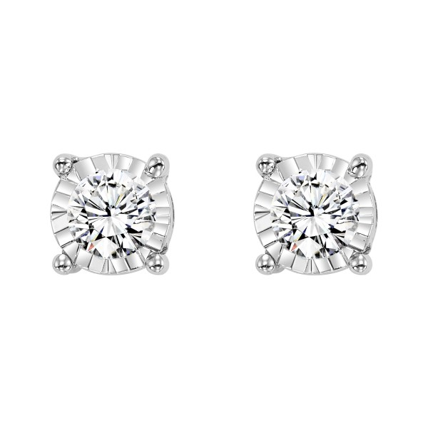 14KW Diamond Studs .10ct tw