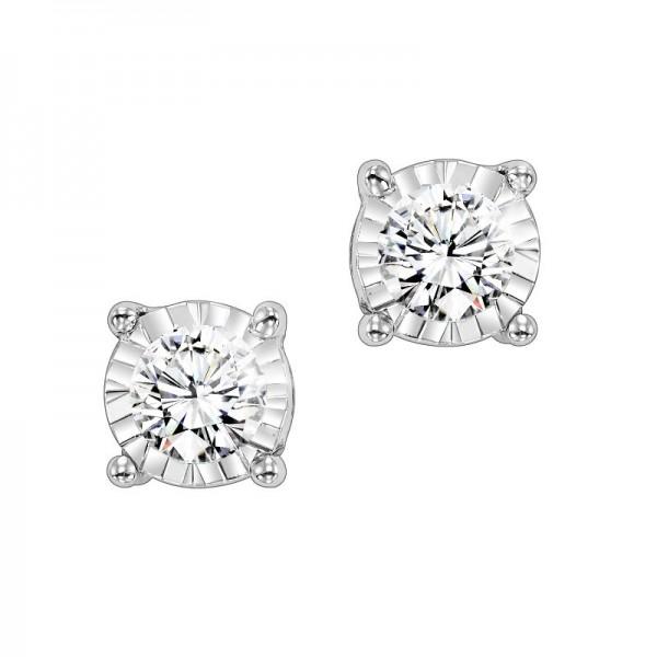 14K White Gold Tru Reflections Diamond Studs