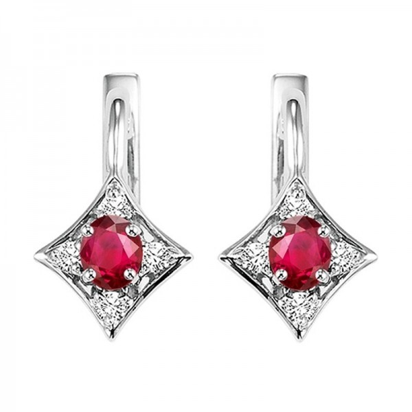 14kw ruby and diamond earrings