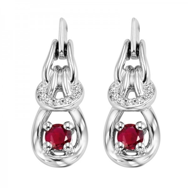 14kw ruby and diamond earrings