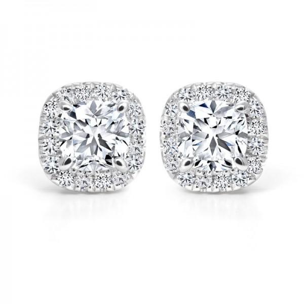 18KW Black Label Cushion Halo Diamond Earrings