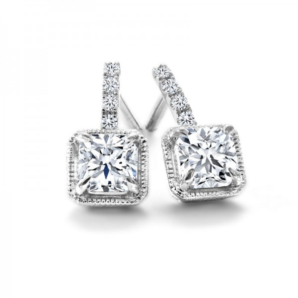 18KW Black Label Square Diamond Earrings