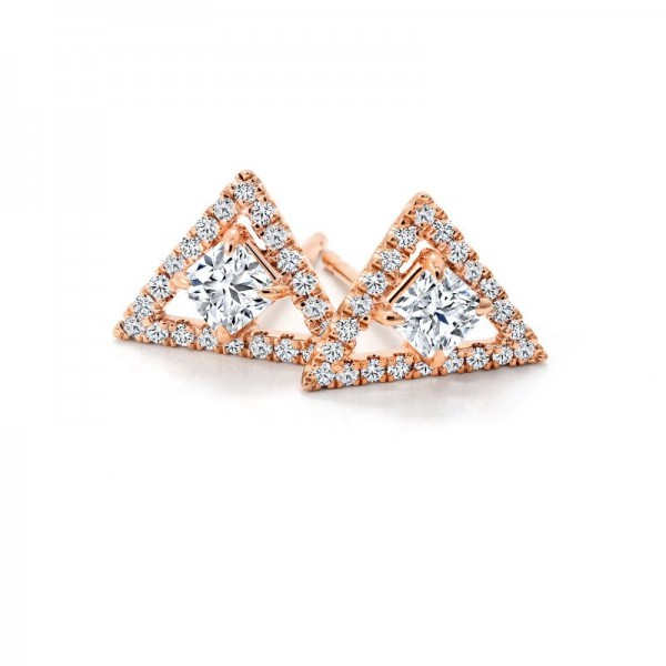 18KR Black Label Square Diamond Earrings