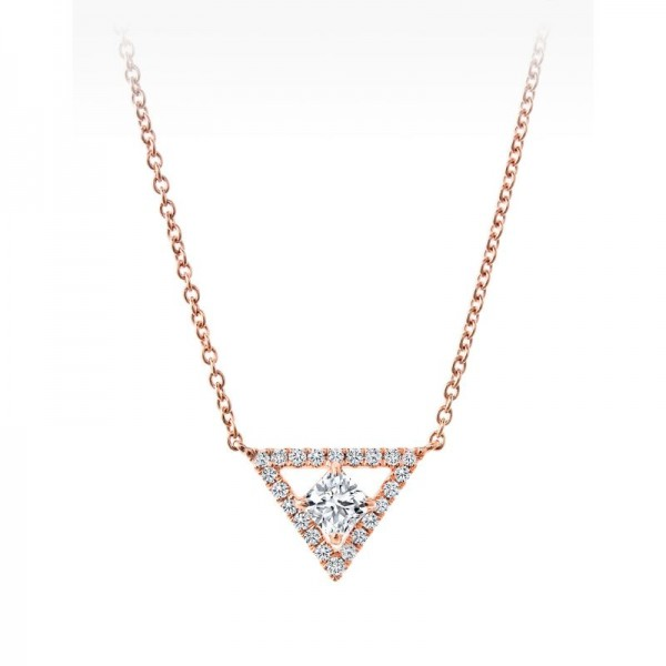 18KR Black Label Square Diamond Necklace
