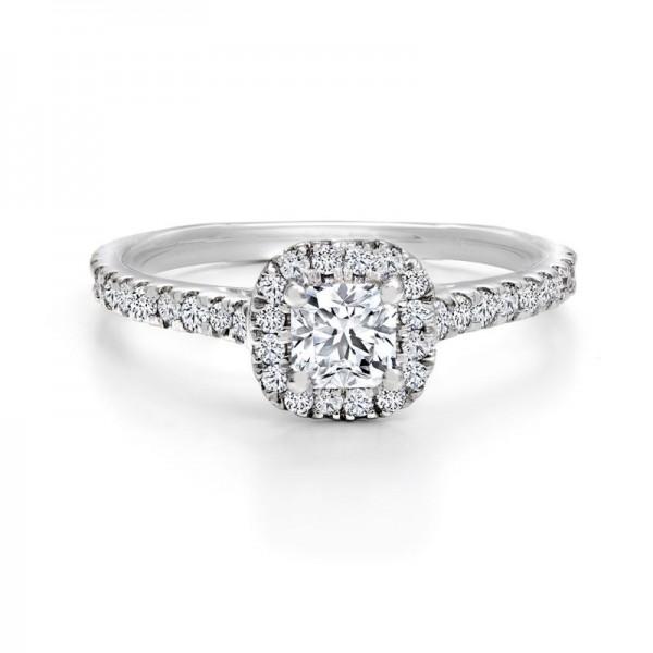18KW Black Label Square Halo Diamond Engagement Ring