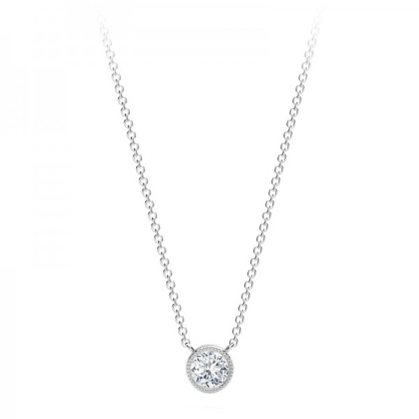 The Tribute™Collection Milgrain Bezel Round Diamond Pendant