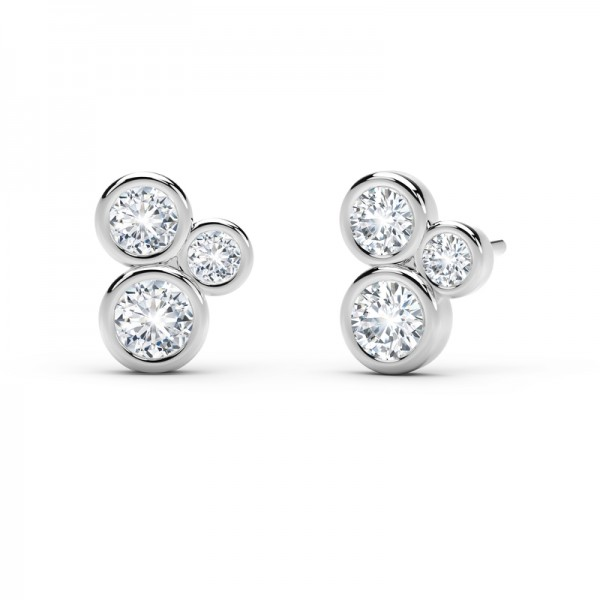 The Tribute™Collection 3 Stone Bezel Diamond Earrings