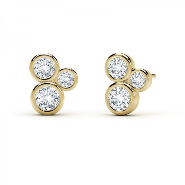 The Tribute™ Collection 3 Stone Bezel Diamond Earrings