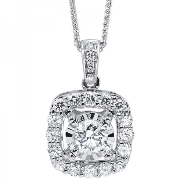 1.00ctw diamond pendant, round center,halo and diamonds on bail 14kw