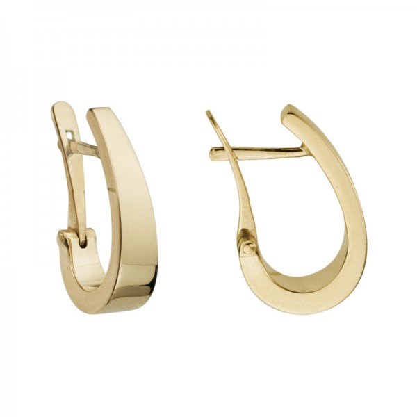 14K Yellow Gold  Hoop Earrings 4mm x 18mm Tapered