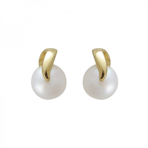14KY Gold Pearl Earrings, 7MM Chain Button Pearl