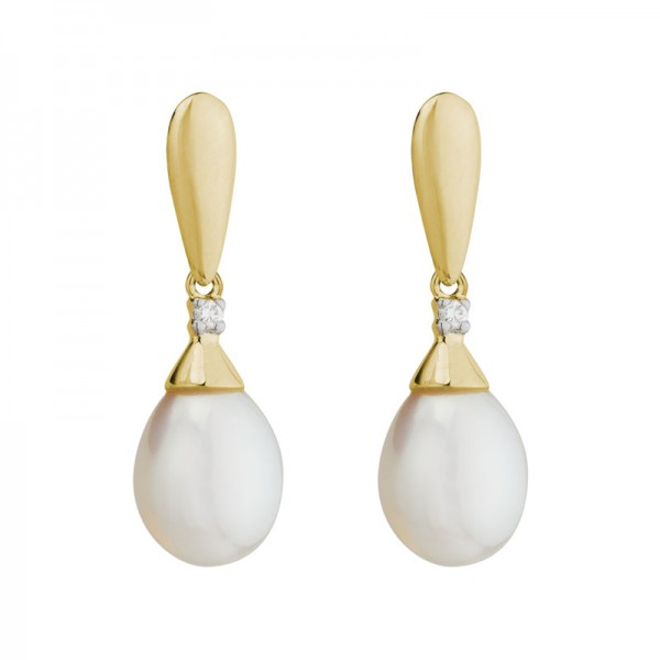 14KY Oval Freshwater Pearl & Diamond Drop Earrings