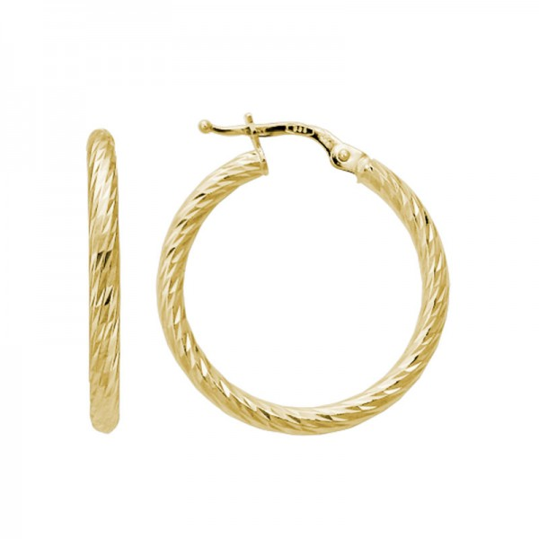 14K Yellow Gold  Hoop-D/C Rope Earrings, 2.5 X 25Mm