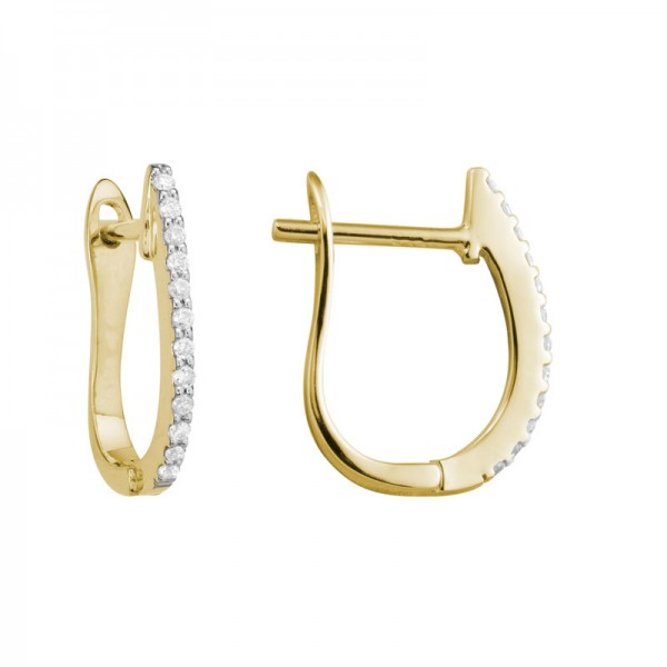 14K Yellow Gold  Hinged Earrings with 24 Round Diamonds 0.09ctw