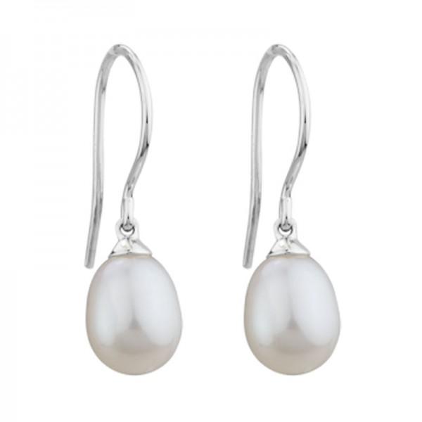14K White Gold  8Mm Freshwater Pearl Drop Earrings