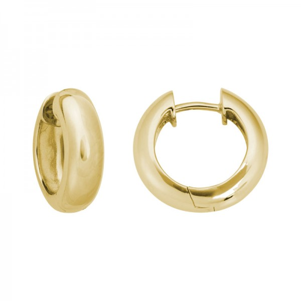 14K Yellow Gold  Hinged Hoop Earrings 4.8mm X 15.8mm