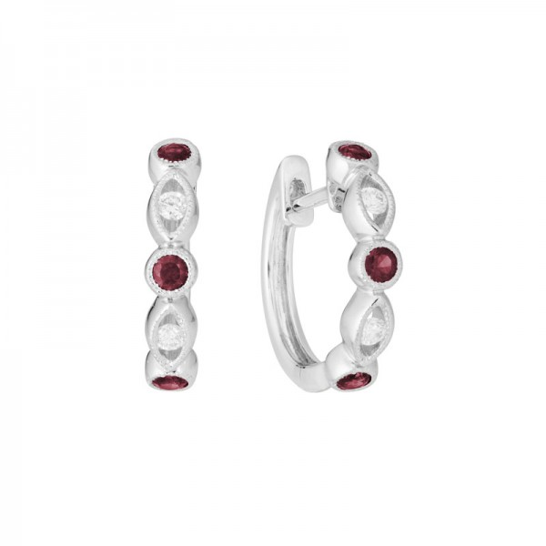 14K White Gold  Hinged Earrings with 6 Garnets 0.30ctw & 4 Round Diamonds 0.18ctw