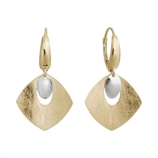 14K Two Tone Kite Shape Earrings