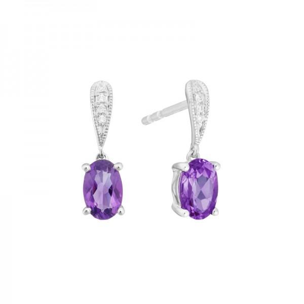 14K White Gold  Amethyst and Diamond Stud Drop Earrings, .02ct Diamonds