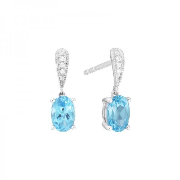 14K White Gold  Blue Topaz and Diamond Stud Drop Earrings, .02ct Diamonds