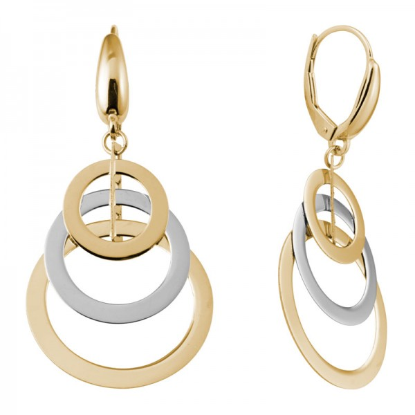 14K Two Tone Overlapping Circles Dangle Earrings
