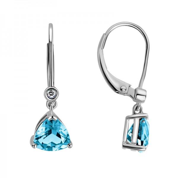 14K White Gold  Trillion Blue Topaz Earrings with 2 Round Diamonds 0.02ctw