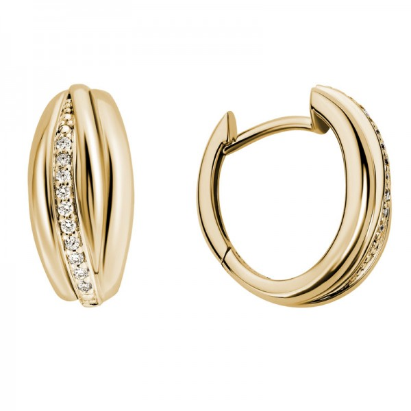 14KY Gold Hinged Huggie Earrings with 0.10ctw Round Diamonds