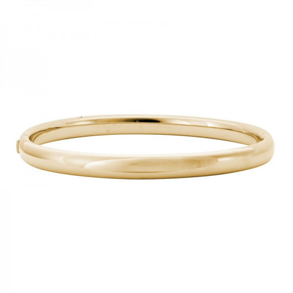 14K Yellow Gold  6mm Rounded Hinged Bangle
