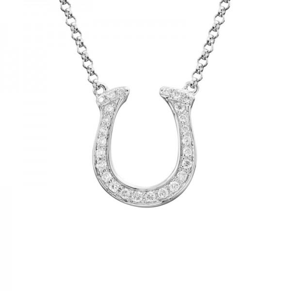 14KW Diamond Horseshoe Diamond Pendant