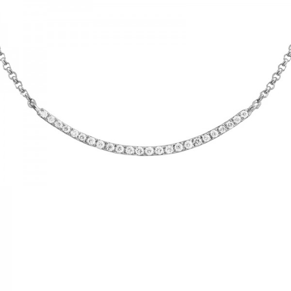 14KW Curved Diamond Bar Necklace